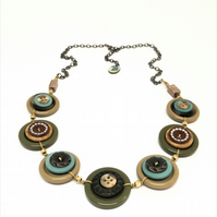 Beautiful Autumn Colour Theme Vintage Buttons Handmade Necklace