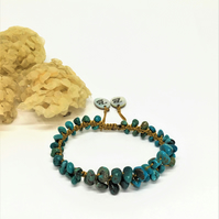 Turquoise beaded adjustable bracelet