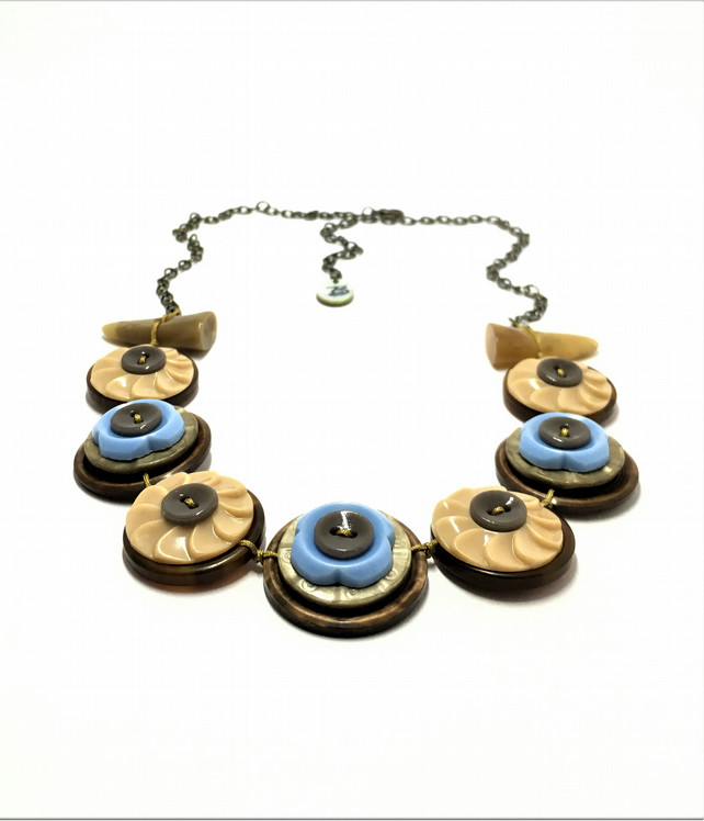 Beige and Baby Blue - Vintage Button Handmade Necklace - one off design
