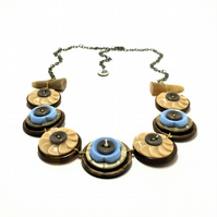 SALE - Beige and Baby Blue - Vintage Button Handmade Necklace