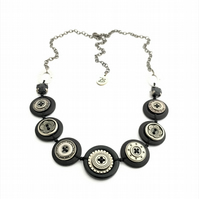 SALE - Black and Antique Silver - Steampunk Inspired vintage button necklace