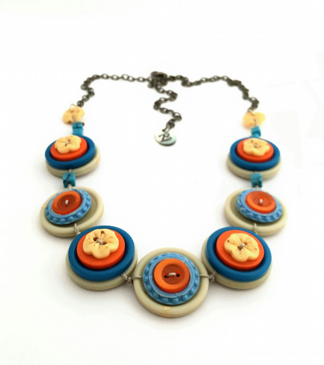 Bright and bold, Smoky blue and Orange vintage button necklace - one off piece