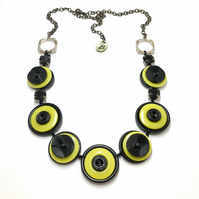 SALE - Bright and bold, black & lemon vintage button necklace