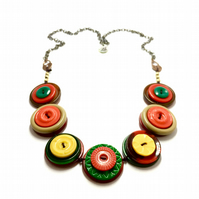 Bright and bold, multi colour vintage button necklace - one off piece