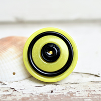 Vivid buttons Bright Yellow and Black Vintage Button Statement Pin