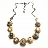 Beautiful Salmon Pink And Grey Colour Theme Vintage Buttons Handmade Necklace