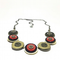Beautiful Vintage Metal Buttons Handmade Necklace - Navy and Red - one off piece
