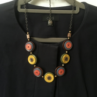 SALE - Colour of sunset - vintage button necklace. Unique style