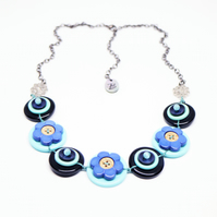 SALE - Navy and baby blue - Vintage Button Handmade Necklace - one off design
