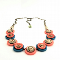 SALE - Colour of sunset - vintage button necklace - Unique style