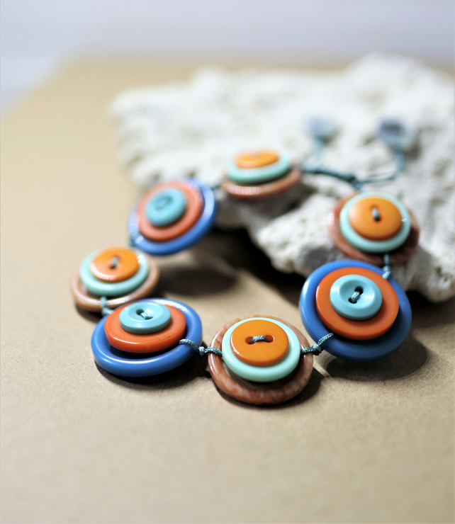 SALE - Bright and Bold - Vintage Button Adjustable Bracelet