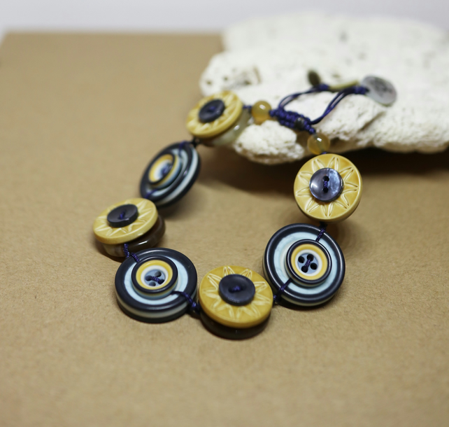 Navy and Mustard colour theme - Vintage Button Adjustable Bracelet