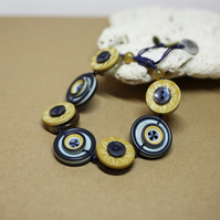 SALE - Navy and Mustard colour theme - Vintage Button Adjustable Bracelet