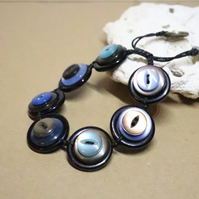SHINY blue and brown color theme - Vintage Button Adjustable Bracelet