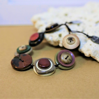 Maroon color palette - Vintage Button Adjustable Bracelet