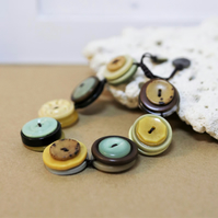 Autumn leave colour theme - Vintage Button Adjustable Bracelet