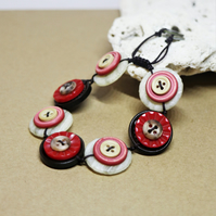 SALE - Red and Chocolate colour theme - Vintage Button Adjustable Bracelet