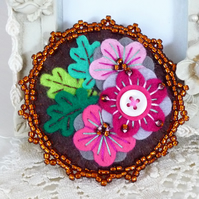Beaded Japanese Art Inspired Handmade Felt Brooch