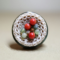 Bottle Green and Sandy Beige Vintage Button Statement Pin with red coral beads