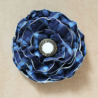 Up-cycled navy checkered textile floral design brooch - hair clip