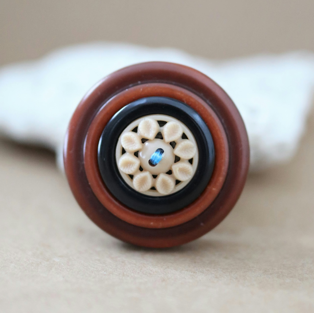 Beautiful Brick and Brown Vintage Button Statement Brooch