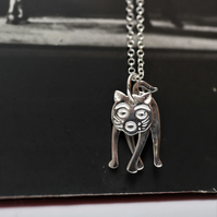 Gifts for CAT lovers - 925 sterling Silver hand cast Cat Design Necklace