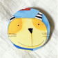 Vintage cat design textile covered Wood Brooch