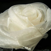 Hair Comb 'White Rose'