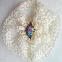 Vintage White Lace and 'Impressionist' Brooch