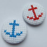 Cross stitch nautical anchor badge