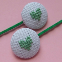 SALE Cross-Stitch Mint Green Heart Hair Grips