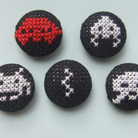Set of 5 Cross-Stitch Space Invaders Magnets