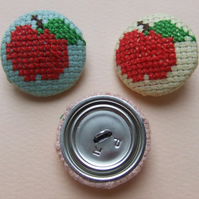 Cross-Stitch Juicey Apple Buttons