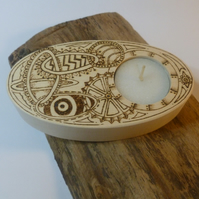 Candle tea light holder, wooden with abstract steam punk design in pyrography