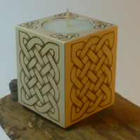 Candle tea light holder, wooden with a Celtic design in pyrography