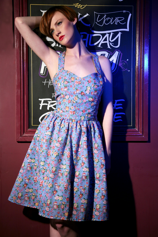 Betty Vintage Inspired Floral Sweetheart Sundress Folksy