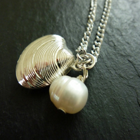 'Under The Sea' Pearl & Silver Plated Seashell Necklace