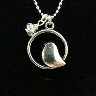 Bird & crystal necklace
