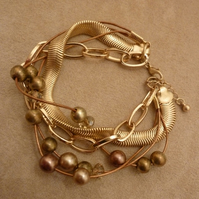 Gold and Bronze Twist Bracelet