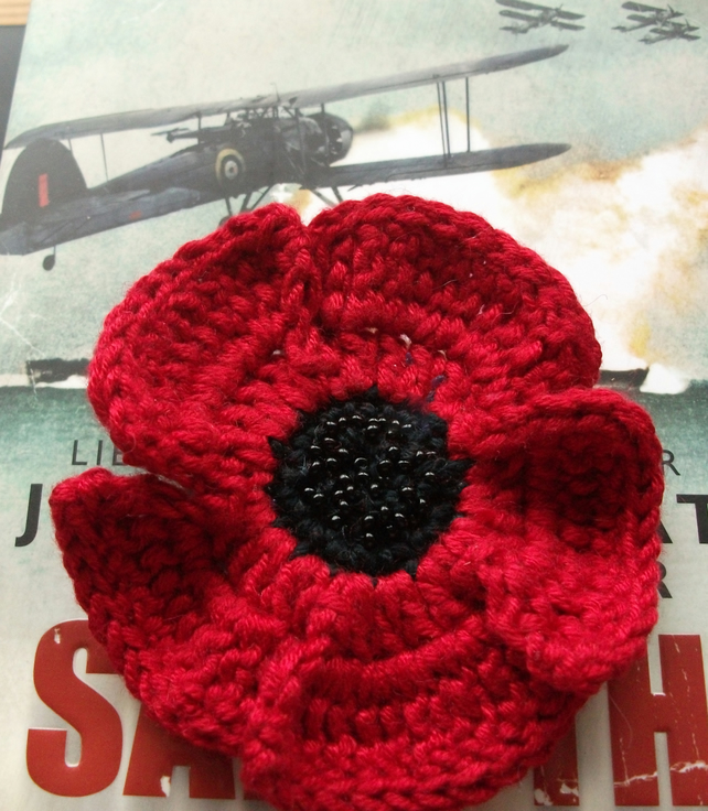 Free Crochet Poppy Brooch Pattern : Beaded Crochet Poppy Brooch for Remembrance Day - Folksy