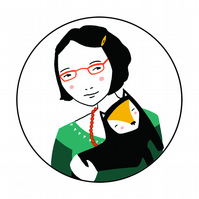 Black Haired Cat Lady Pocket Mirror