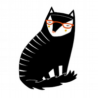 Geeky Black Cat Card