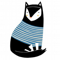 Stripey Black Cat Card