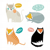 Meow - 4 Piece Badge Set