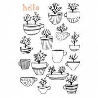 1 x Hello Tree Cup Card