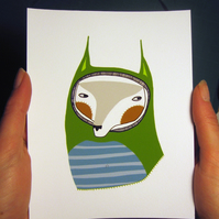 The Stripey Fox (green) Mini Print