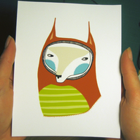 The Stripey Fox (orange) Mini Print