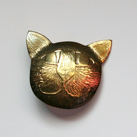 cat face brooch tiny