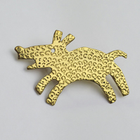 Happy woolly dog brooch