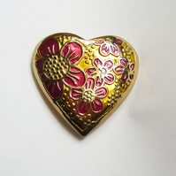 Blossom and heart brooch